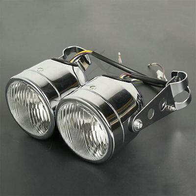 Chrome Twin Front Headlight W/ Bracket For Street Fat Boy, Naked Motorcycles