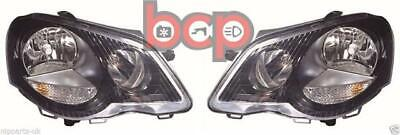 Vw Polo Gti 2005 -2008 9N Black Headlights Headlamps Pair Left And Right