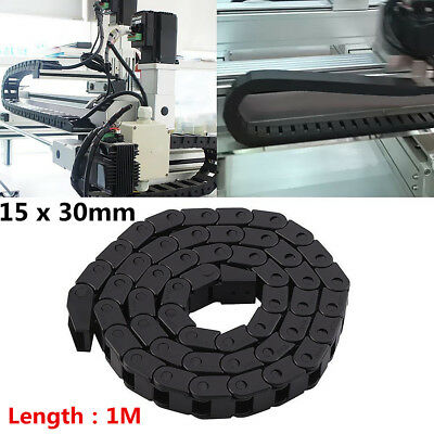 """Plastic Drag Chain 15 x 30mm 1M 40"""" Towline Carrier Wire Cable CNC Machine Tool"""