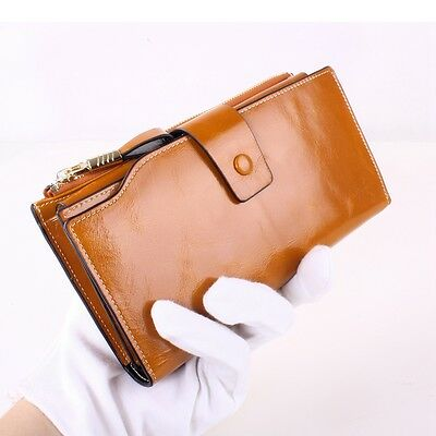 Women Ladies Genuine Leather Wallet Purse Card Holder Case Clutch Large Capacity