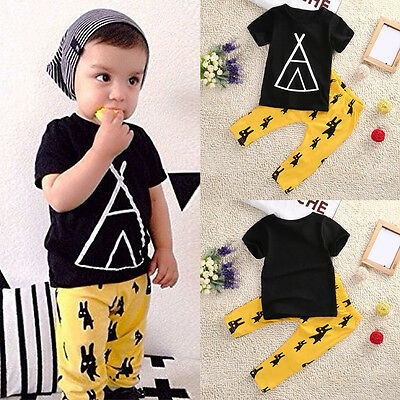 2pcs Toddler Kids Baby Boys T-shirt Tops+Long Pants Outfits Clothes Set 0-5Y B9