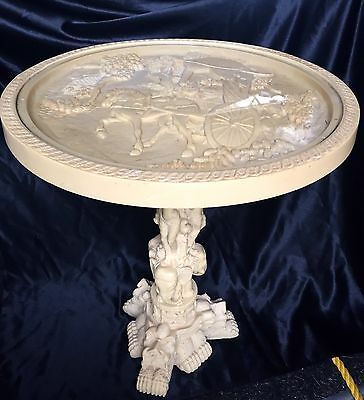 Asian Side Table Hand Carved Signed Ivory Color Resin Foo Dogs Dragons Elephants