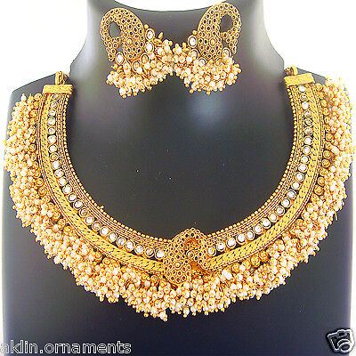 Indian Jewelry Bollywood Necklace Fashion Gold Traditional Bridal Earrings Set
