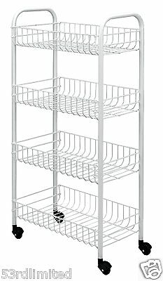 White Kitchen Trolley on Wheels| Plastic Coated Home Rolling Cart Storage Unit