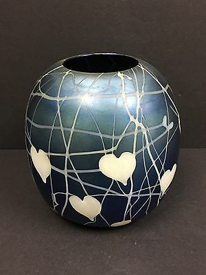 1920's Durand Art Glass Heart & Vine Blue Lustre Bowl Shape 1995 Signed