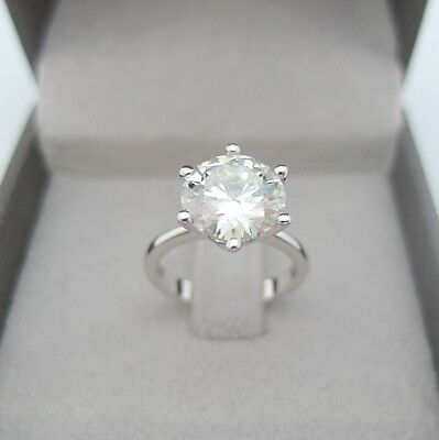 4.50 Carat Round Cut D/vs2 Diamond Solitaire Engagement Ring 14K White Gold