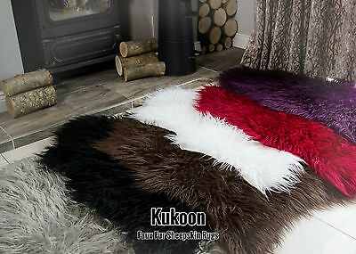 Faux Fur Sheepskin Rugs Non Slip Bedroom Rugs Fluffy Soft Shaggy Animal Rugs UK