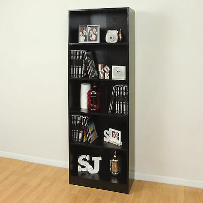 5 Tier Wooden Black Home/Office Bookcase Storage Display Unit Shelving/Cabinet