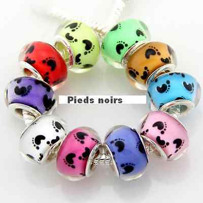 Charms Type Murano Pieds Noirs Bracelet Serpent Europeen Compatible Neuf