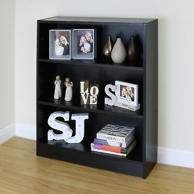 3 Tier Wooden Black Home/Office Bookcase Storage Display Unit Shelving/Cabinet