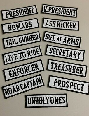 Outlaw Biker Motorcycle Patches Black and White support Choose from 13 styles