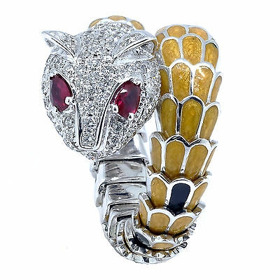 18K White Gold Panther Cat Head Ring Round Cut Diamond