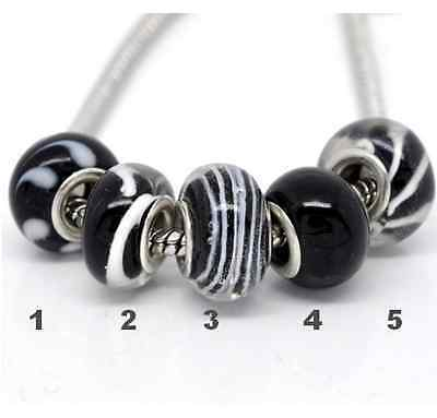 Charms Type Murano Noir 5 Modeles Pour Bracelet Serpent Europeen Compatible Neuf