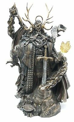 "King Arthur Legend Wizard Merlin Figurine Magic Fire Prophet Sorcerer 11"" Height"