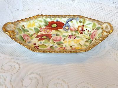 Hammersley Queen Anne 6 sided dish- floral, gold accents (54)