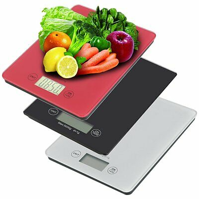 Digital Kitchen Scale Glass Compact Electronic Diet Bake Food Scale 11lb 5kg EM