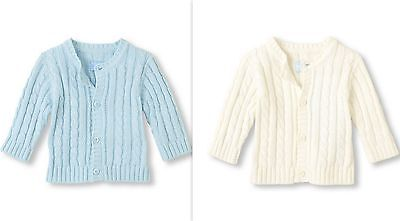 Children's Place Baby Boys White Blue Cable-Knit Cardigan Sweater 3-6M 6-9M NWT