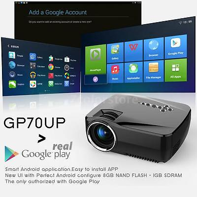 GP70UP 1920x1080P HD LED Projector Home Theater Android Bluetooth WIFI HDMI VGA