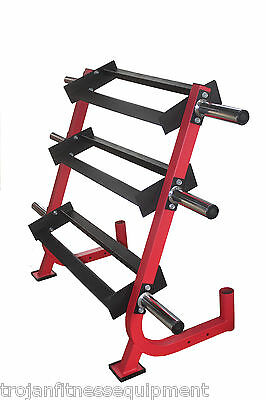 Dumbell Rack 3 Tiers Kettle Bell Tray 6 Weight Plate Storage Pins 2 Bar Holder