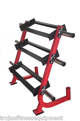 Dumbell Rack 3 Tiers Rubber Hex D/Bells 6 Weight Plate Storage Pins 2 Bar Holder
