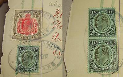 Nyasaland Edward VII 4/- + 3 x 1/- 4 shillings stamps document 1913 Rare