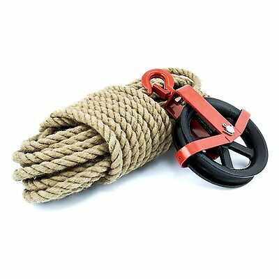 Jute Rope with Scaffolding Pulley Roofing Gin Wheel Lifting Tools