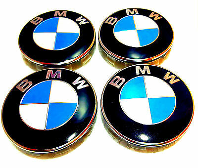4 x BMW WHEEL CENTRE CAPS 10 PIN CLIPS 68 MM BADGE FITS 1 2  3 5 7 X5 X3 Series