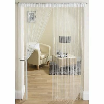 Shimmer Silver Glitter Fleck White Strings Curtain Panel £5.49 Each Free Postage