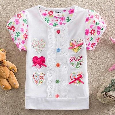 Girls ashort Sleeved Embroidered Heart/Lace Top, Cotton, Sizes 2 - 6