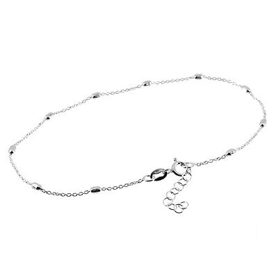 """Solid 925 Sterling Silver 9"""" - 10"""" Adjustable Ball Bead Anklet (Ankle/Foot)"""