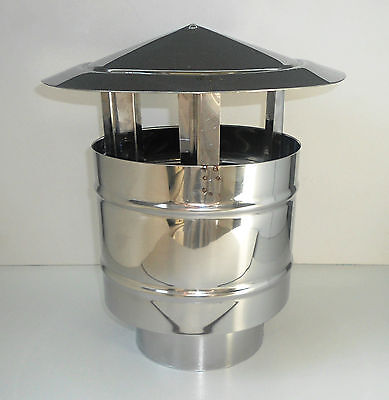 CHIMNEY ANTI WIND RAIN COWL Stainless Steel Cap Anti Down Draught - 150mm / 6''