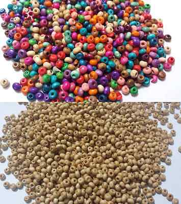 100-1000 WOOD WOODEN MIXED BEADS SPACER BEADS JEWELLERY MAKING 2x3mm