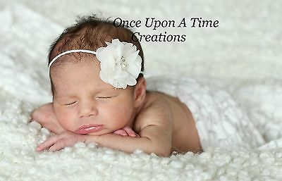 White Chiffon Flower Pearl Newborn Headband Bow - Baby Girl Hair Bow Baptism