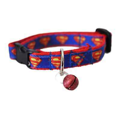 Superman Blue Red Logo Superhero Cat Kitten Puppy Small Dog Collar