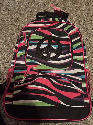 Girls school backpack Zebra, Peace signs, glitter, sparkly back pack