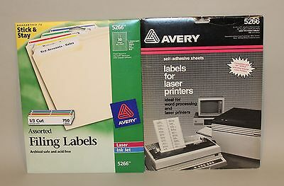 1020 Avery 5266 Assorted Colors 11/16 x 3-7/16 Inch Laser Filing Labels in Boxes