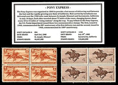 1940 - 1960 - PONY EXPRESS -  Blocks of Four Vintage U.S. Postage Stamps