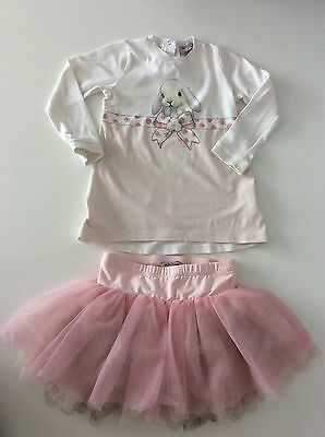 Monnalisa 2 Piece Girls Outfit, Size Age 12 Months, Set, Skirt & Top, Pink White