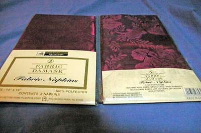 "Better Homes Set Of 2 Packages Maroon Fabric Damask Napkins 14"" x 14"""