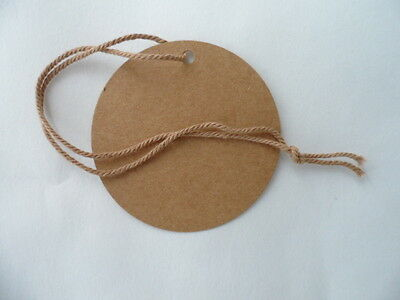 100 Swing Tags Circle 75 mm Dia Brown Recycled Card supplied Strung with Cotton