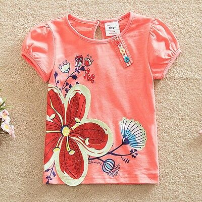Girls Short Sleeved Embroidered Flower Top, Cotton, Sizes 2 - 6