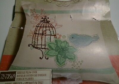 Dimensions 72-73569 Birdcage Pillow Cover Fabric Applique 14x14 Jillian Phillips