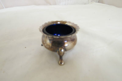 Mustard cauldron (no lid/ spoon) with blue glass insert
