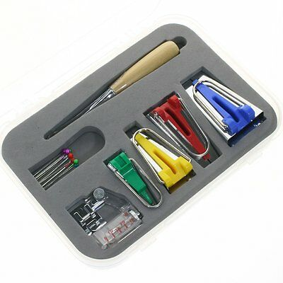 16 Pcs Set Bias Tape Maker Kit for Sewing & Quilting Awl and Binder Foot Tools