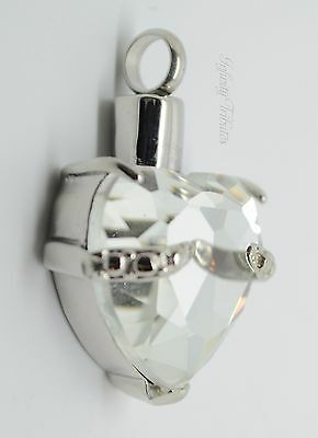 Clear Heart Keepsake Pendant Charm - Holds Ashes Hair Fur Cremation Urn Vial