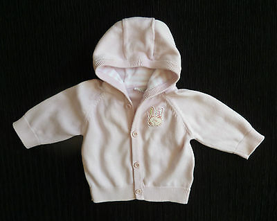 Baby clothes 0-3m thin cotton pink F&F cardigan lined hood rabbit COMBINE POST!