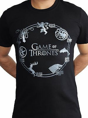 Game of Thrones Silver Sigils House Crests Stark Lannister Black Mens T-shirt