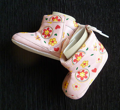 Baby clothes GIRL 12-18mNEW pink flower boots indoor manmade uppers/soles C SHOP