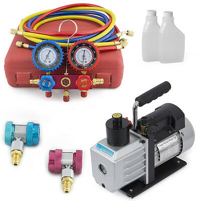R134a HVAC Manifold Gauge Air Condition A/C + 1/2 HP 5CFM Vacuum Pump Set