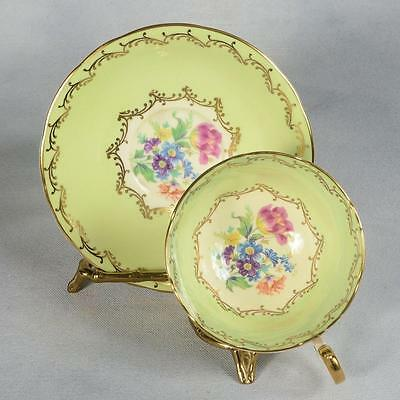 Aynsley Teacup & Saucer - White/ Mint Green, Mixed Floral Centres